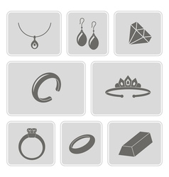 monochrome set with jewelry icons vector image vector image