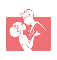 romantic couple bride and groom wedding emblem vector image