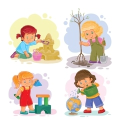 Set icons small girls playing with toys vector image vector image