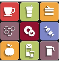 Set of flat food icons vector image vector image