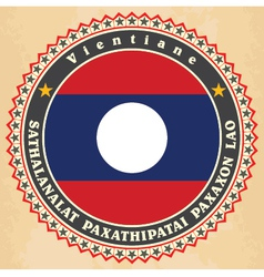 Vintage label cards of Laos flag vector image vector image