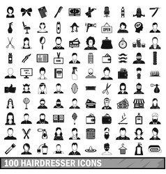 100 hairdresser icons set simple style vector image