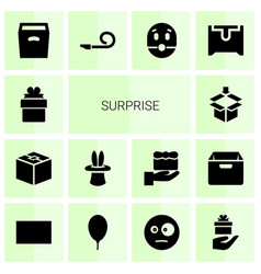 14 surprise icons vector image
