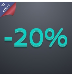 20 percent discount icon symbol 3D style Trendy vector