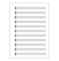 a4 music sheet with note stave with treble clef vector image