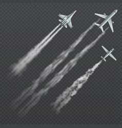 Airplanes and military fighters with condensation vector