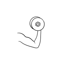 arm with dumbbell hand drawn outline doodle icon vector image