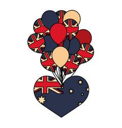 australia flag shaped heart and balloons vector image