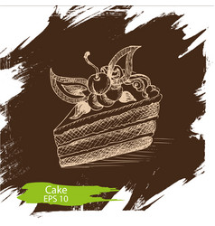 Background sketch cake of vector