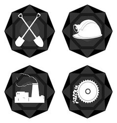 Badges coal industry 2 vector