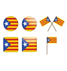Badges with flag of Catalan independentist vector