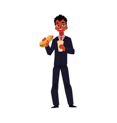 black african businessman eating sandwich holding vector image