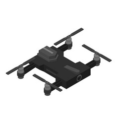 Black drone icon isometric style vector