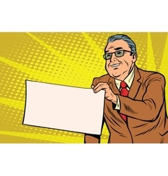Boss businessman with a blank sheet of paper vector