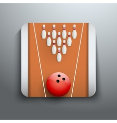 Bowling pins and ball icon symbol vector image