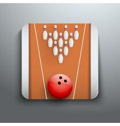 Bowling pins and ball icon symbol vector