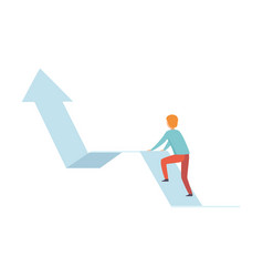 businessman climbing up growth arrow graph vector image