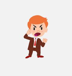 Businessman screams angry in aggressive attitude vector