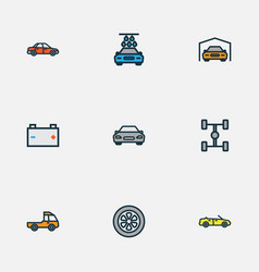 Car icons colored line set with sedan prime-mover vector