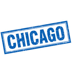Chicago blue square grunge stamp on white vector