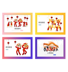 Chinese new year dragon festival landing page set vector