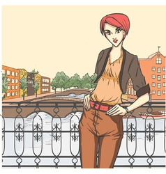 City scene and young girl vector