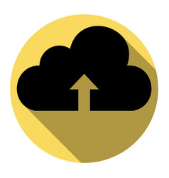 cloud technology sign flat black icon vector image