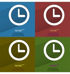 Color set Watch Flat modern web button with long vector image