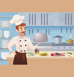 commercial kitchen with cartoon characters chef vector image