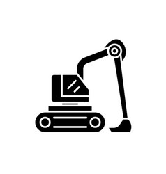 construction excavator black icon sign on vector image