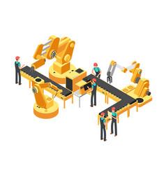 Conveyor production line automotive industry vector