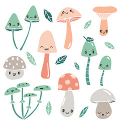 cute cartoon mushrooms with faces and leaves vector image