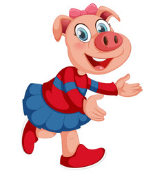 Cute pig in human-like pose isolated vector
