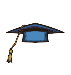 dark blue graduate cap isolated on white vector image