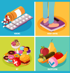 Diabetes control isometric design concept vector