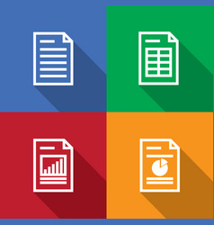 Document spreadsheet graphic outline icon set vector