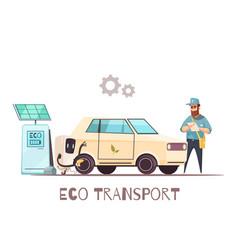 eco transportation vehicle cartoon vector image
