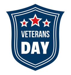 Emblem veterans day logo flat style vector