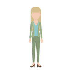 Faceless woman full body with blouse and jacket vector