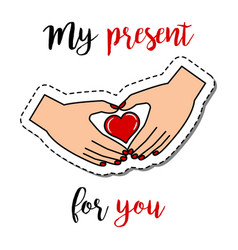 fashion patch with hands holding heart vector image