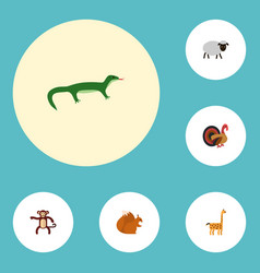 Flat icons mutton gobbler chipmunk and other vector