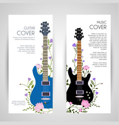 Flowers entwined guitar vertical banners vector