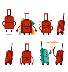 funny airplane travelling bag character set vector image