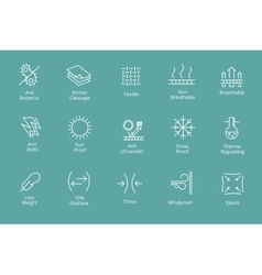 Garments and fabrics properties icons like vector