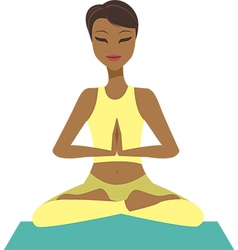 Girl in yoga lotus pose vector