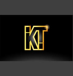 Gold black alphabet letter kt k t logo vector