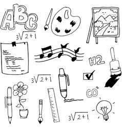 Hand draw flat school doodles vector image