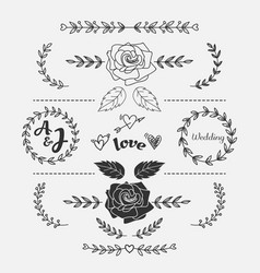 hand drawn flower doodle wedding heart templateweb vector image