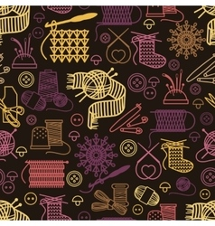 Knitting and needlework seamless pattern vector image