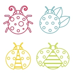 Ladybug icons in color line style on white vector image